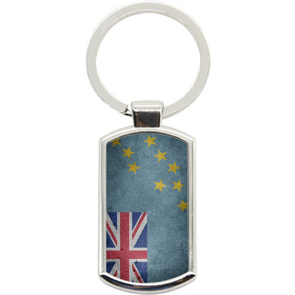 KeyRing Stainless Steel Key Chain Ring - Tuvalu Flag Y00183