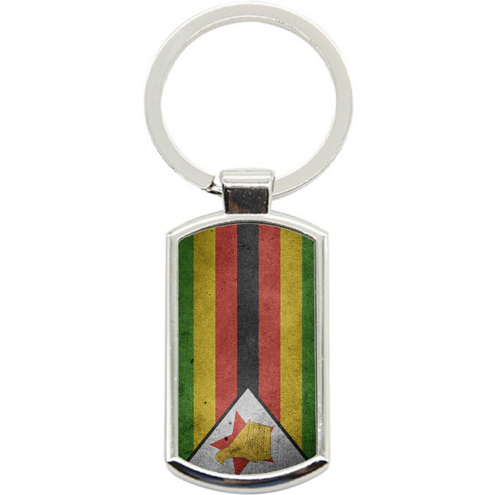 KeyRing Stainless Steel Key Chain Ring - Zimbabwe Flag Y00185