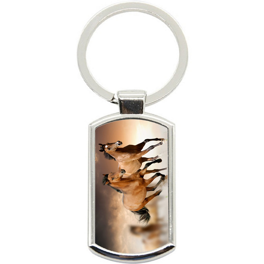 KeyRing Stainless Steel Key Chain Ring - Horse Chestnut Run Y00195