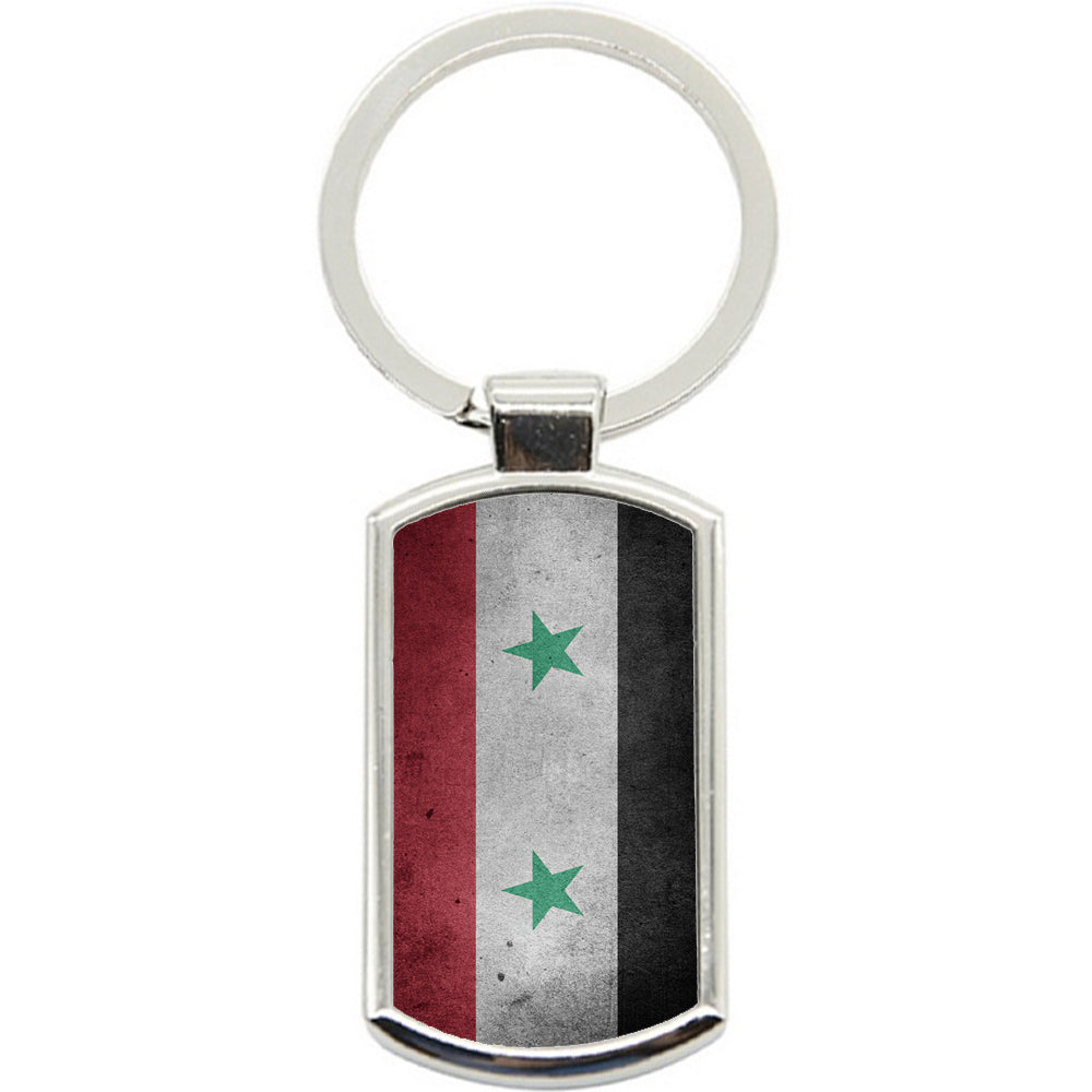 KeyRing Stainless Steel Key Chain Ring - Syria Grunge Flag Y00201