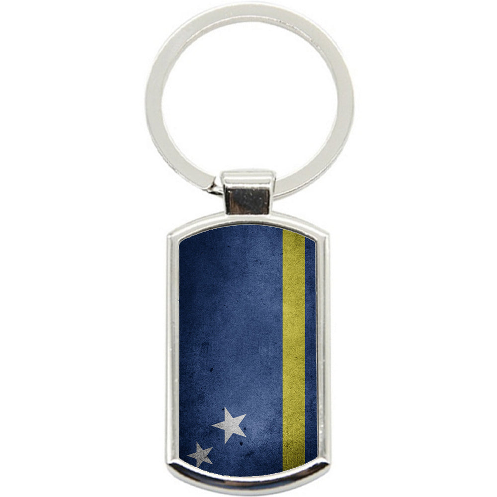 KeyRing Stainless Steel Key Chain Ring - Curacao Flag Y00204