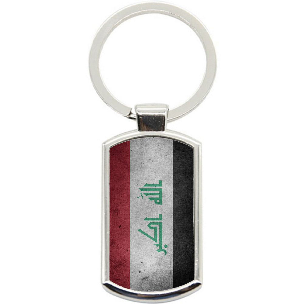 KeyRing Stainless Steel Key Chain Ring - Iraq Grunge Flag Y00206
