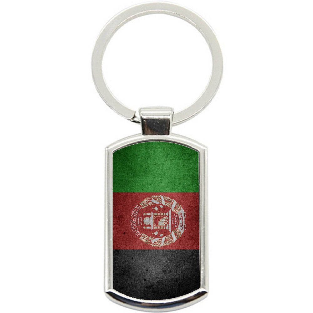 KeyRing Stainless Steel Key Chain Ring - Afghanistan Flag Y00213