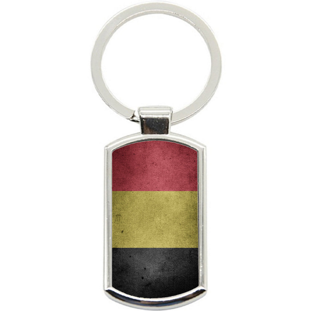 KeyRing Stainless Steel Key Chain Ring - Belgium Flag Y00216