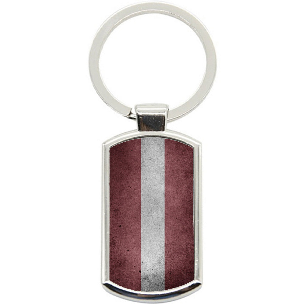 KeyRing Stainless Steel Key Chain Ring - Latvia Flag Y00219
