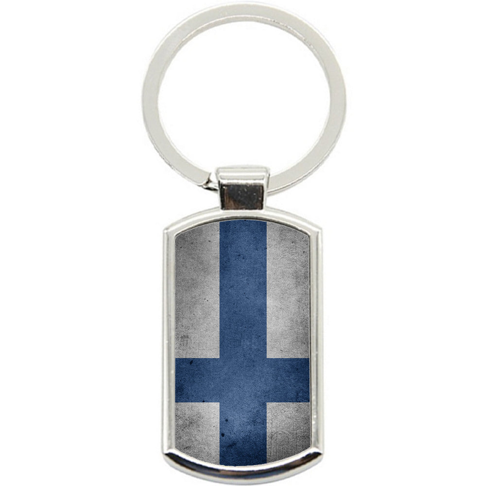 KeyRing Stainless Steel Key Chain Ring - Finland Flag Y00227