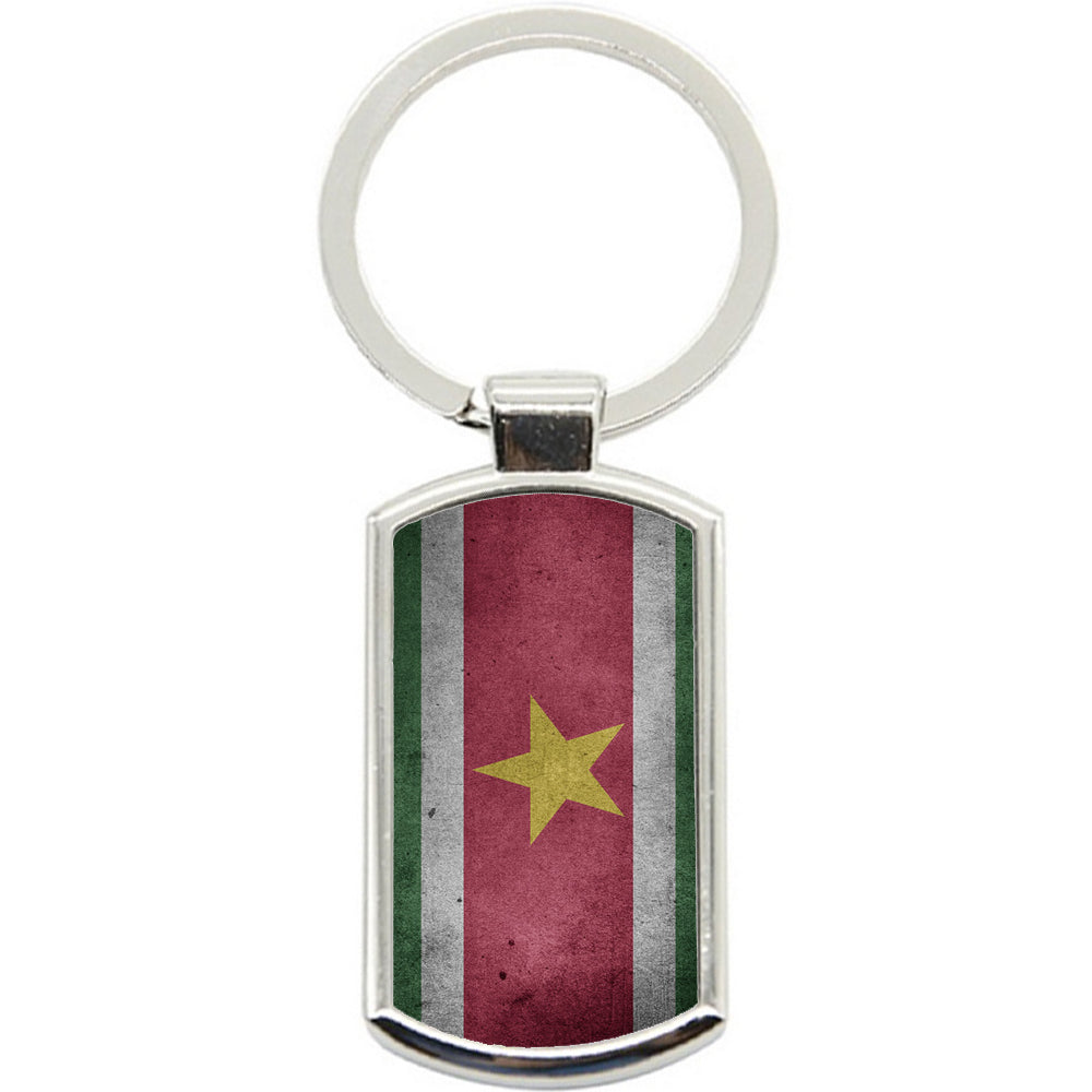 KeyRing Stainless Steel Key Chain Ring - Suriname Flag Y00235