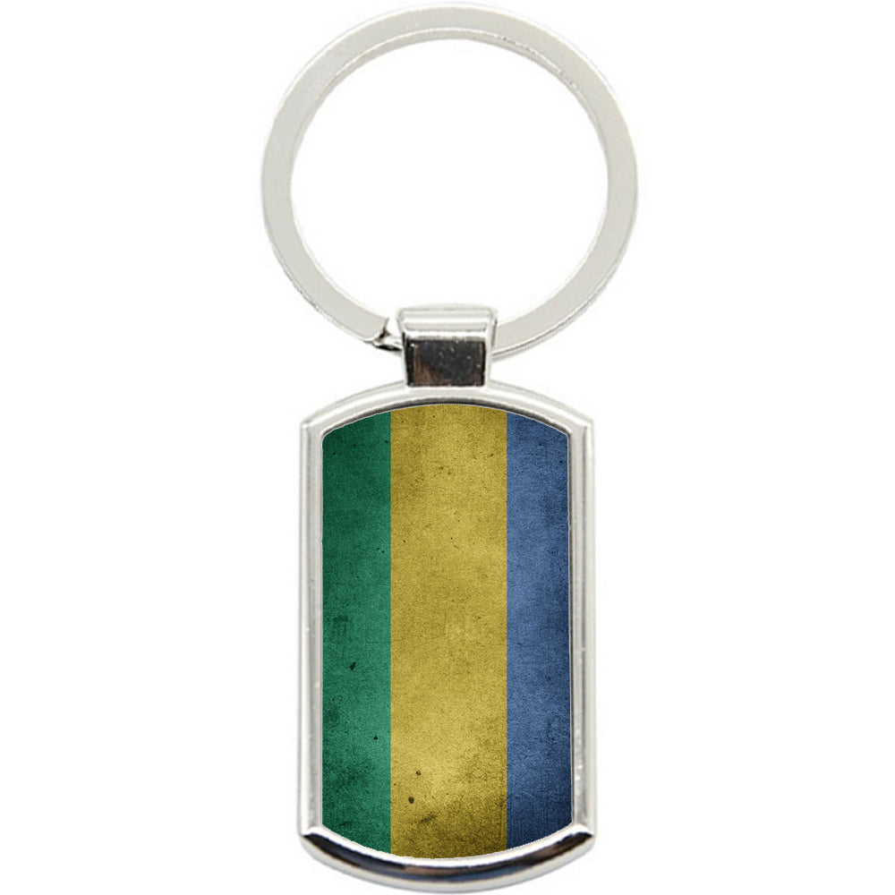 KeyRing Stainless Steel Key Chain Ring - Gabon Unique Flag Y00241