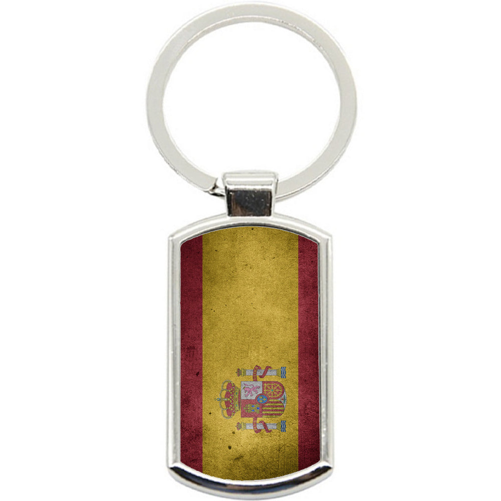 KeyRing Stainless Steel Key Chain Ring - Spain Flag Y00251