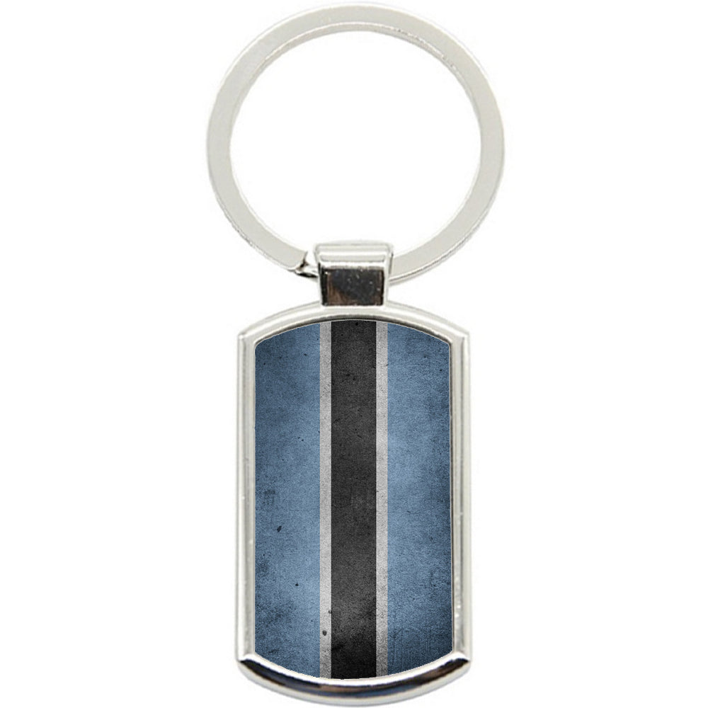 KeyRing Stainless Steel Key Chain Ring - Botswana Flag Y00255