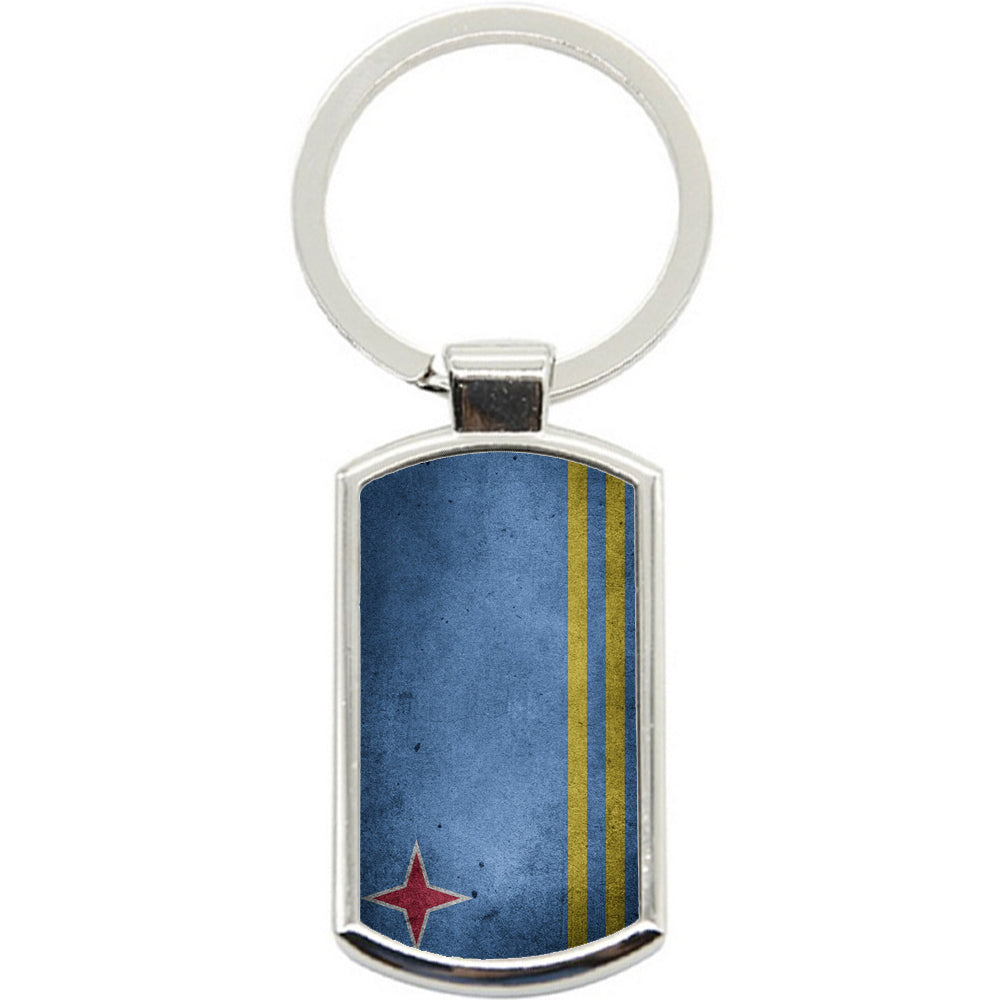 KeyRing Stainless Steel Key Chain Ring - Aruba Flag Y00259