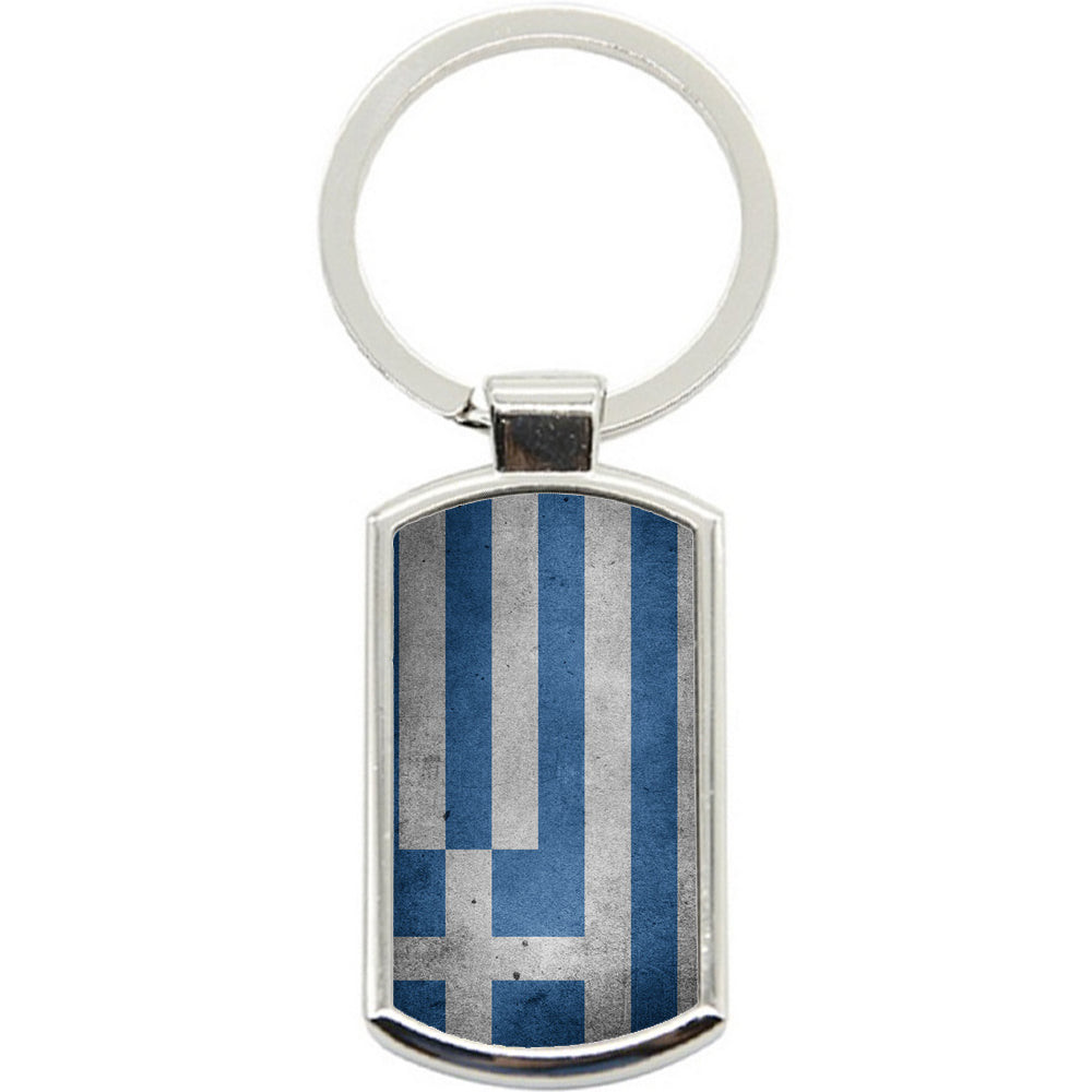 KeyRing Stainless Steel Key Chain Ring - Greece Flag Y00260
