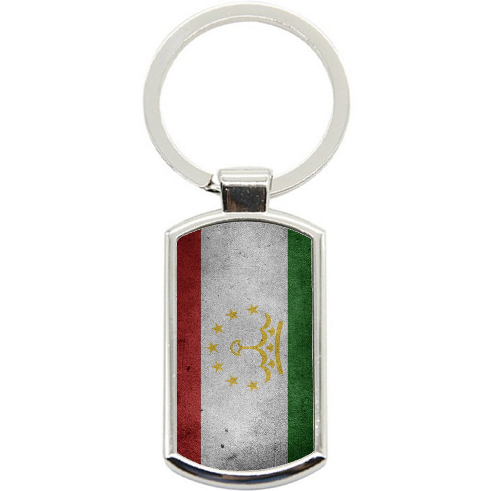 KeyRing Stainless Steel Key Chain Ring - Tajikistan Flag Y00276