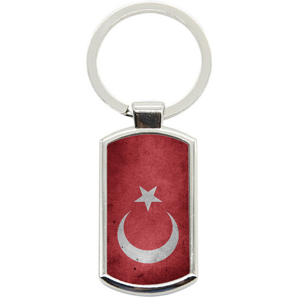 KeyRing Stainless Steel Key Chain Ring - Turkey Flag Y00277