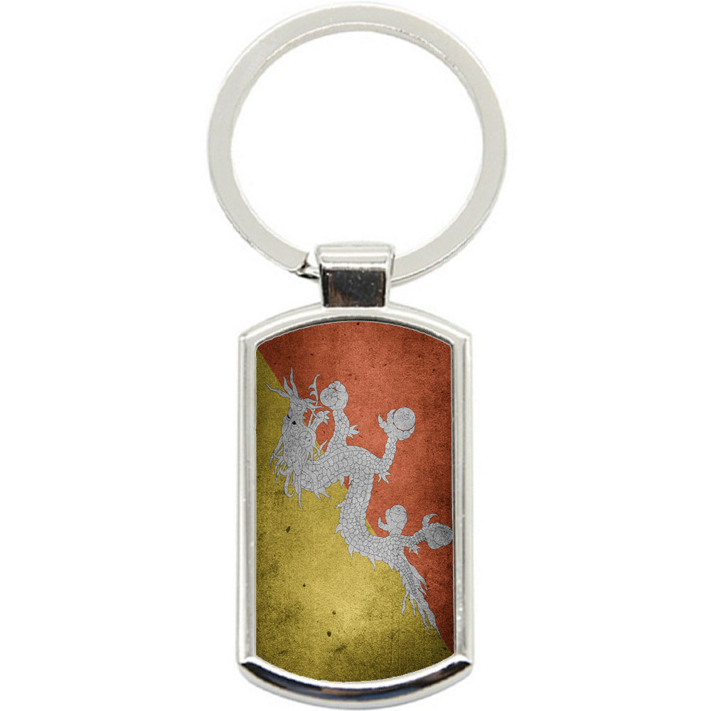 KeyRing Stainless Steel Key Chain Ring - Bhutan Flag Y00287