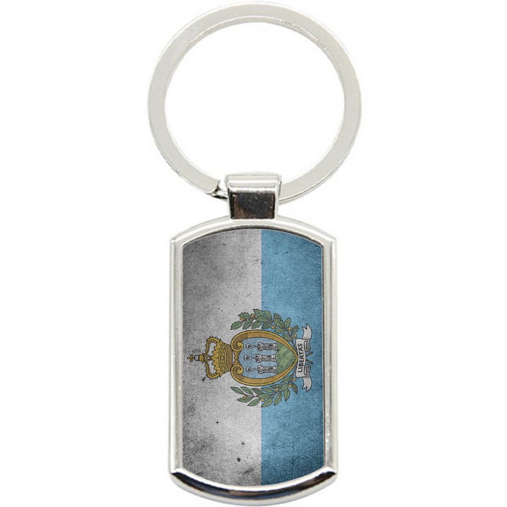 KeyRing Stainless Steel Key Chain Ring - San Marino Flag Y00294