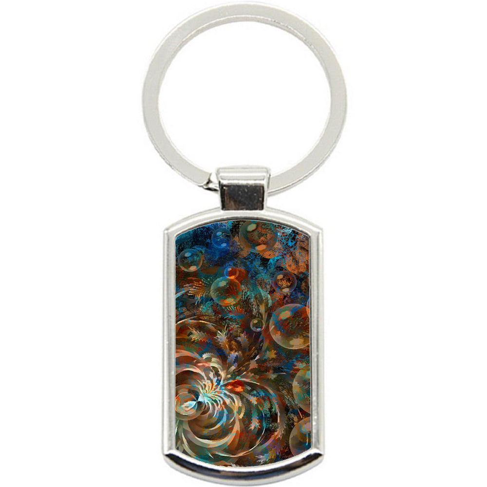 KeyRing Stainless Steel Key Chain Ring - Swirls Painting Y00295