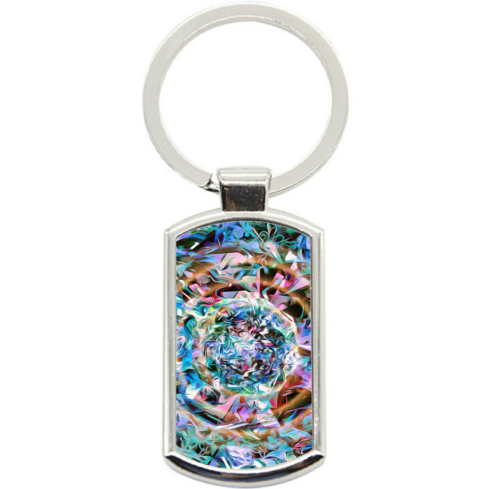 KeyRing Stainless Steel Key Chain Ring - Abstract Pastel Y00304