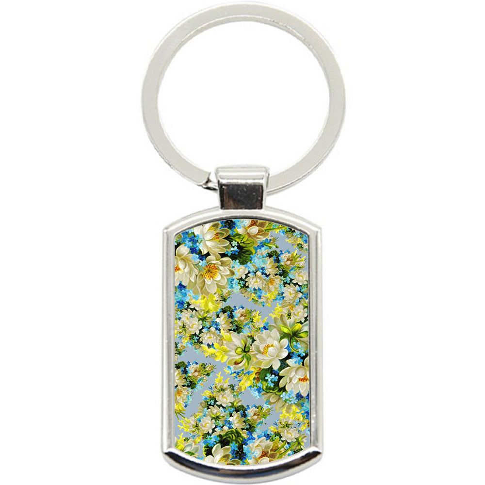 KeyRing Stainless Steel Key Chain Ring - Yellow Flowers Y00305