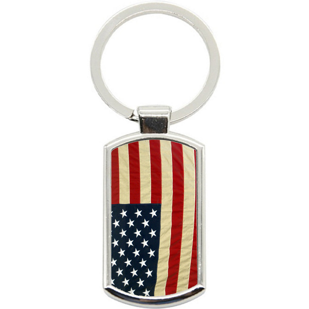 KeyRing Stainless Steel Key Chain Ring - Old USA Flag Y00307
