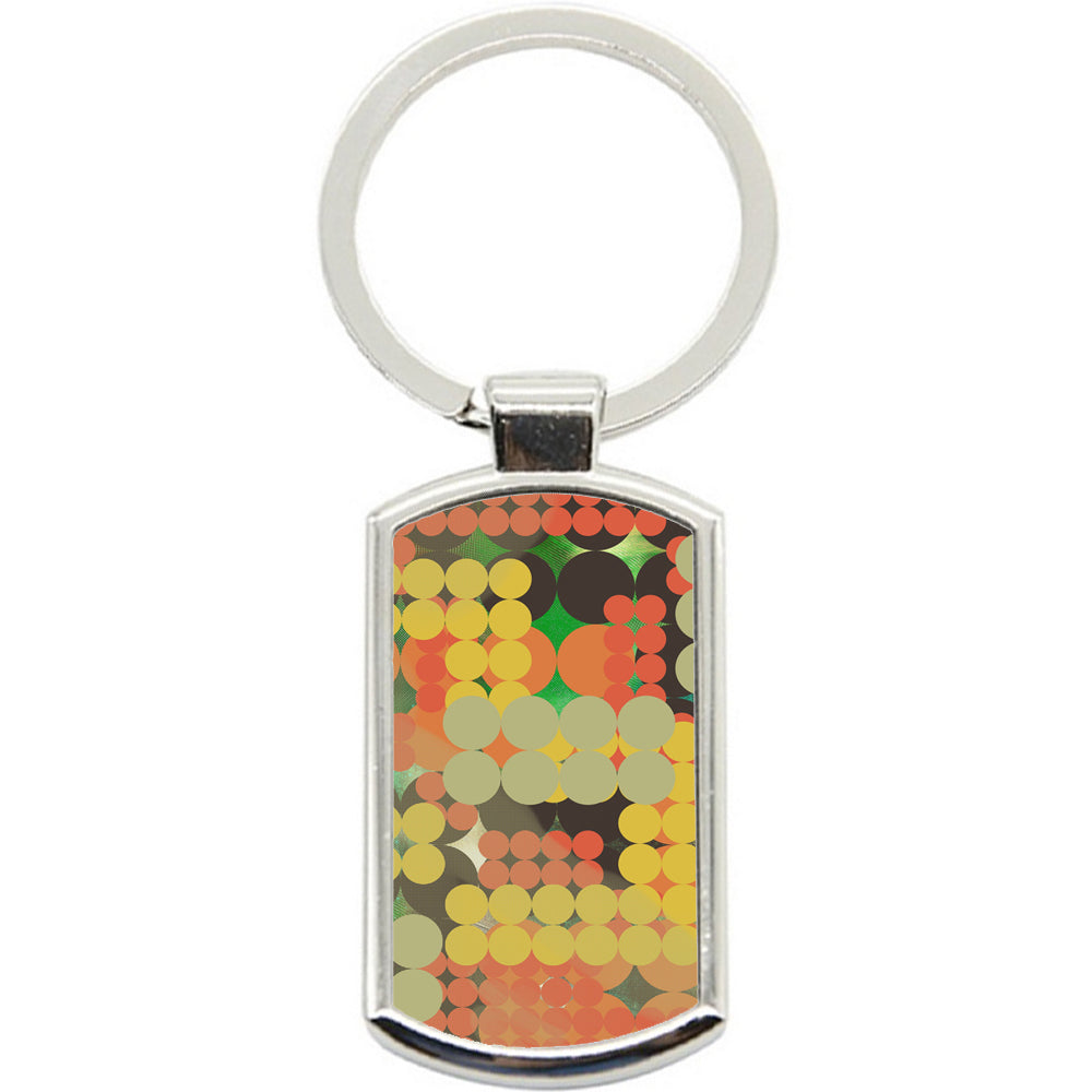 KeyRing Stainless Steel Key Chain Ring - Abstract Pola Dots Y00311