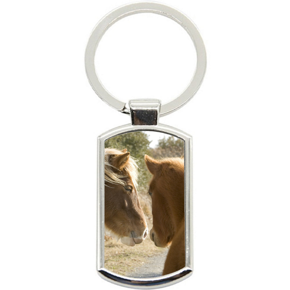 KeyRing Stainless Steel Key Chain Ring - Horse Love Cute Y00315