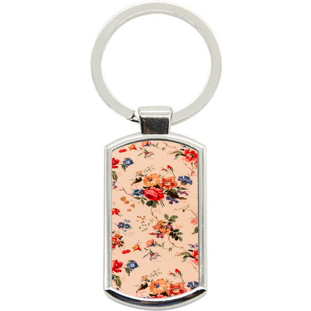 KeyRing Stainless Steel Key Chain Ring - Vintage Wallpaper Y00316