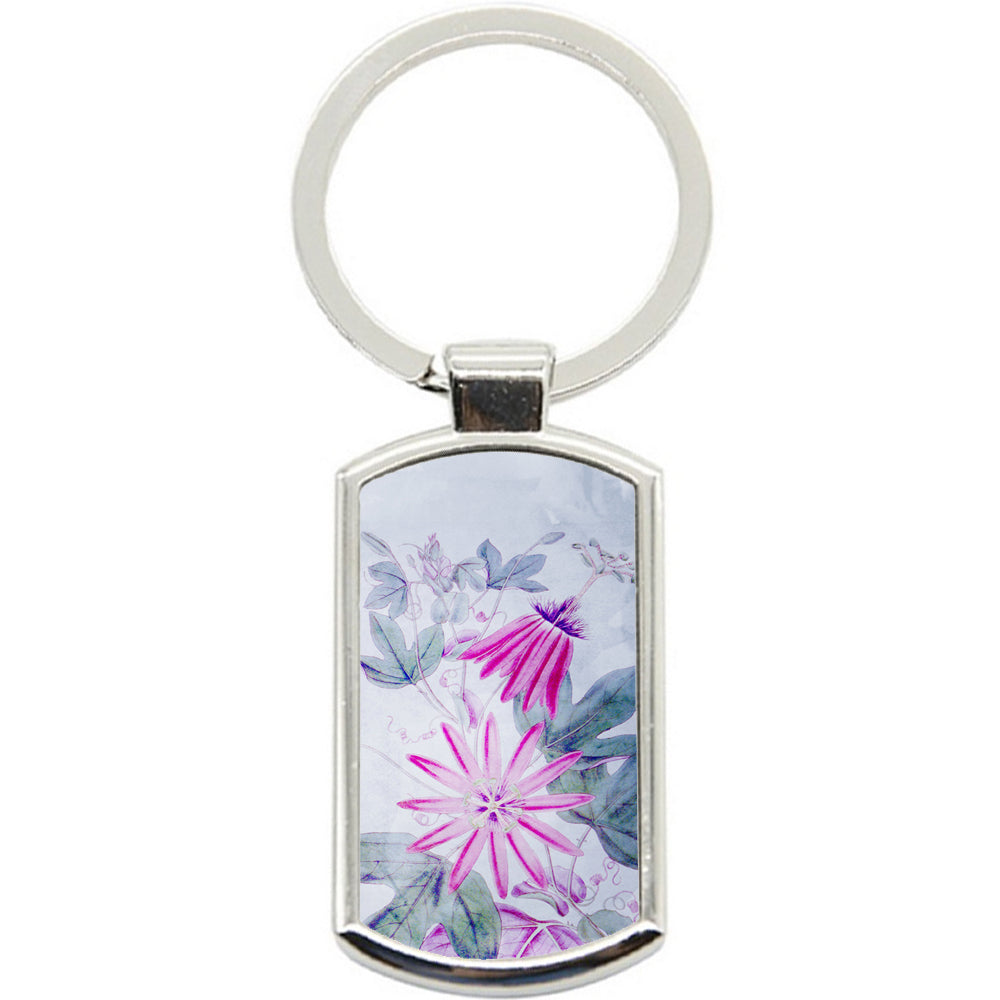 KeyRing Stainless Steel Key Chain Ring - Flower Painted Y00320