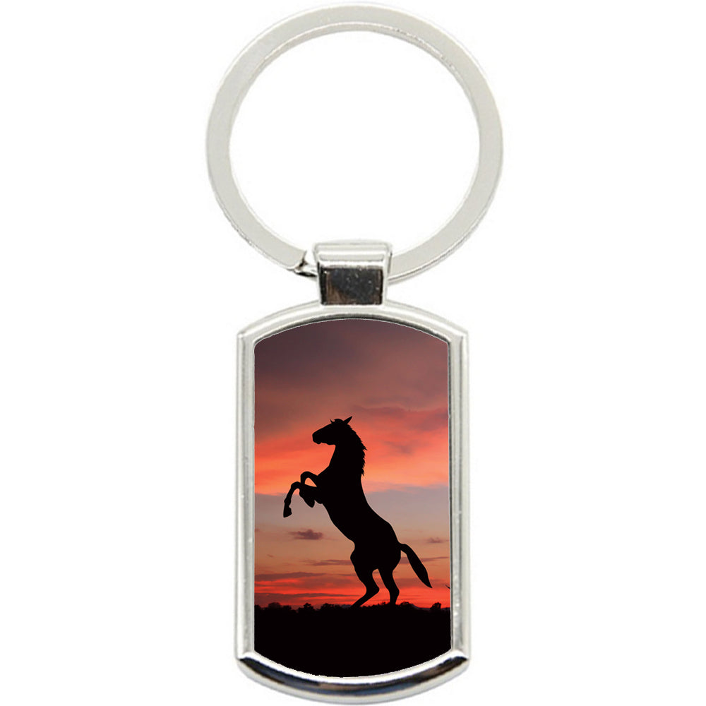 KeyRing Stainless Steel Key Chain Ring - Horse Sunset Y00323