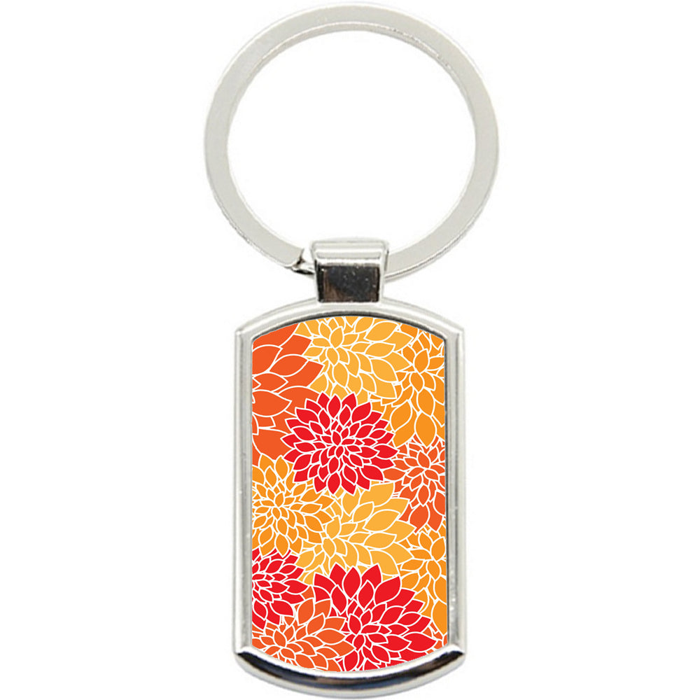 KeyRing Stainless Steel Key Chain Ring - Red Orange Art Y00329