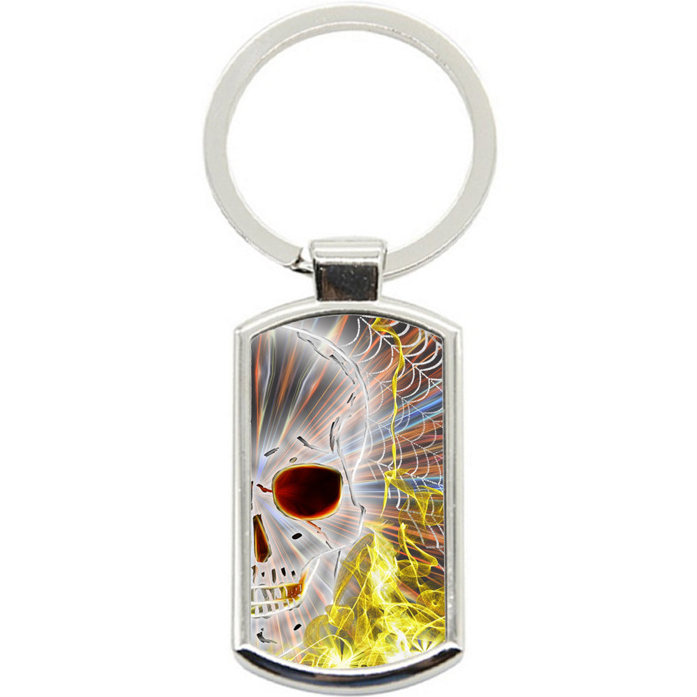 KeyRing Stainless Steel Key Chain Ring - Skull Web Cool Y00332
