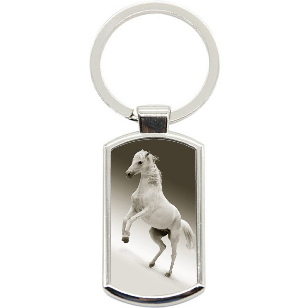 KeyRing Stainless Steel Key Chain Ring - White Horse Jump Y00343