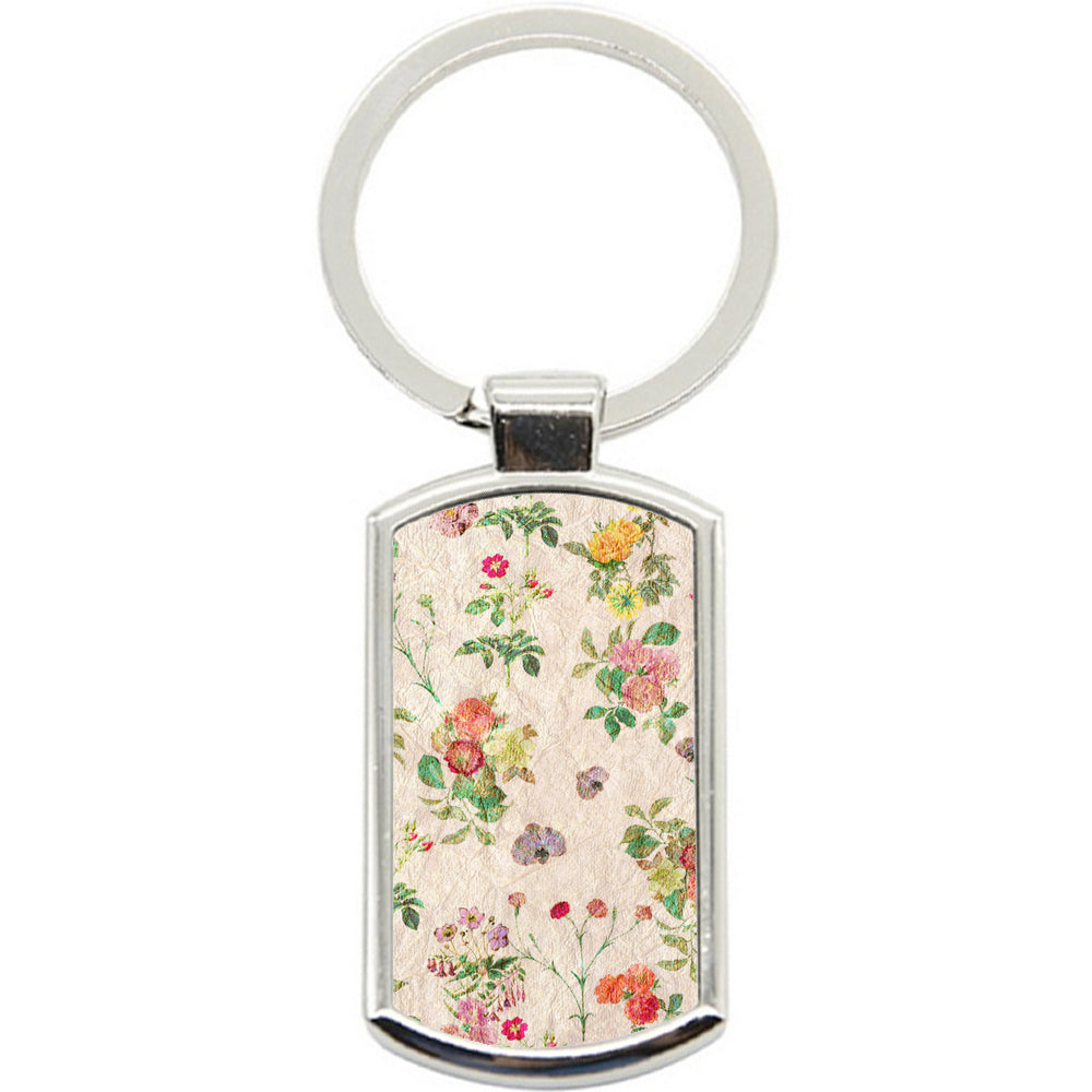 KeyRing Stainless Steel Key Chain Ring - Floral Vintage Y00344