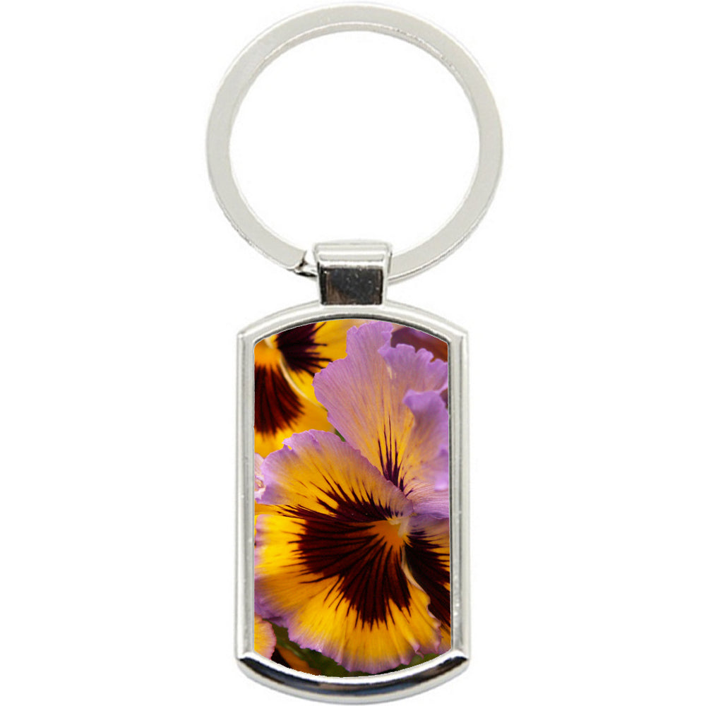 KeyRing Stainless Steel Key Chain Ring - Yellow Pansy Y00347