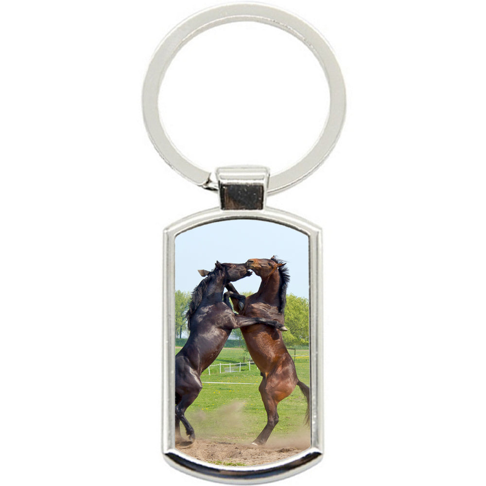 KeyRing Stainless Steel Key Chain Ring - Horse Fight Battle Y00356