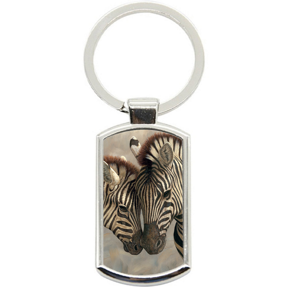 KeyRing Stainless Steel Key Chain Ring - Zebra Love Baby Y00369