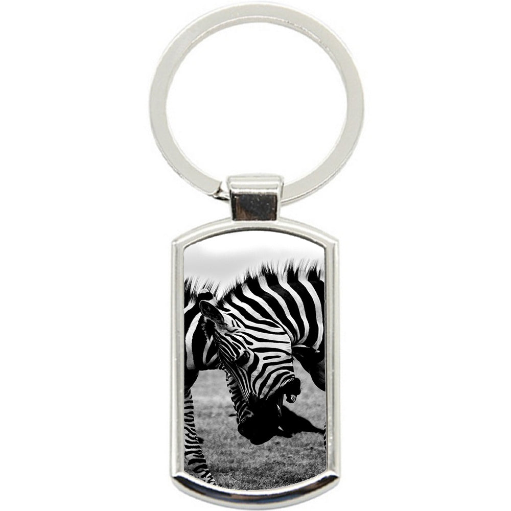 KeyRing Stainless Steel Key Chain Ring - Zebra Fight Y00373