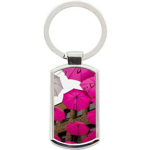 KeyRing Stainless Steel Key Chain Ring - Pink Umbrellas Y00570
