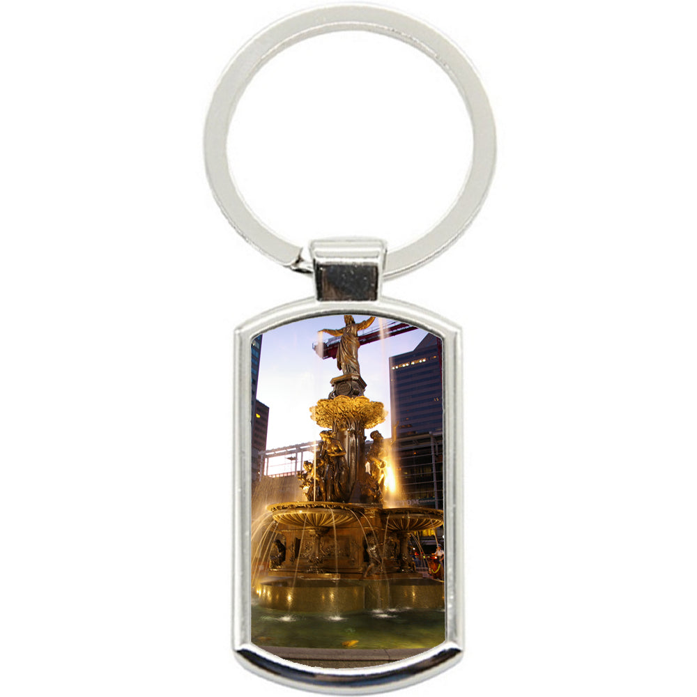 KeyRing Stainless Steel Key Chain Ring - Water Fountain Y00615