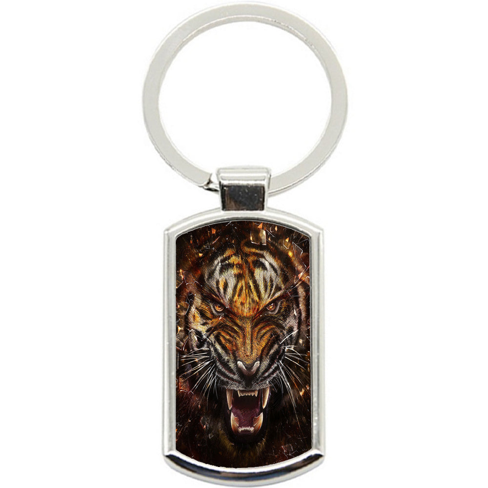 KeyRing Stainless Steel Key Chain Ring - Tiger Break Glass Y01012