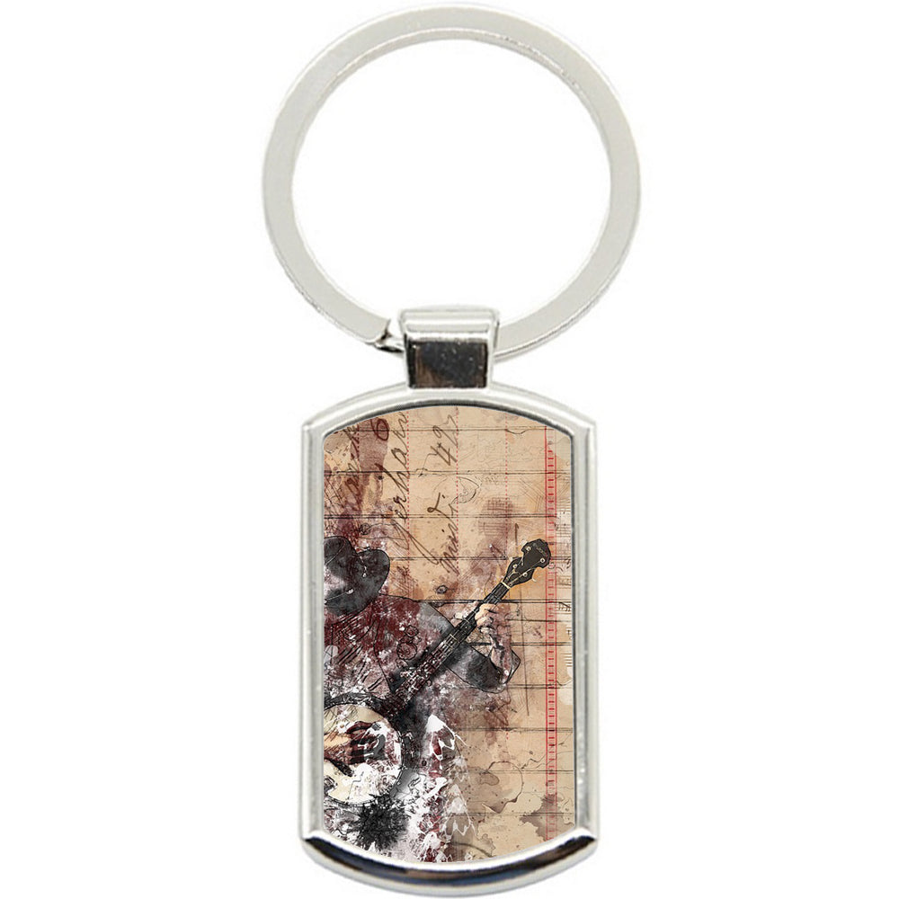 KeyRing Stainless Steel Key Chain Ring - Guitar Music Y01181