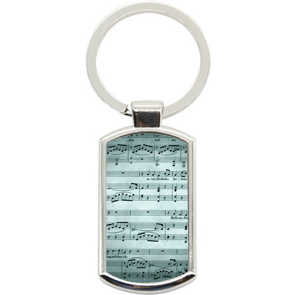 KeyRing Stainless Steel Key Chain Ring - Teal Music Sheet Y01432
