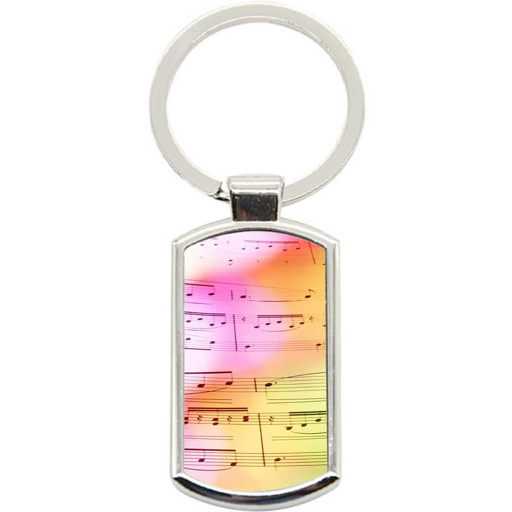 KeyRing Stainless Steel Key Chain Ring - Watercolour Music Y01459