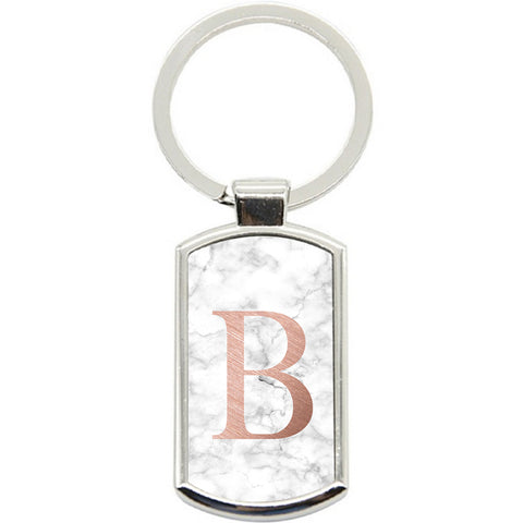 KeyRing Stainless Steel Key Chain Ring - PERSONALISED Initial White Marble Y01505