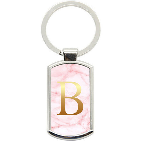 KeyRing Stainless Steel Key Chain Ring - PERSONALISED Initial Pink Marble Y01527