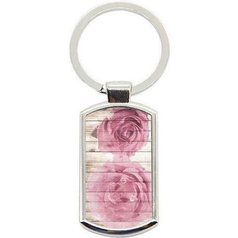 KeyRing Stainless Steel Key Chain Ring - Rose Painted Wood Y01595