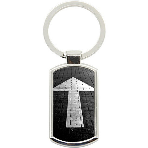 KeyRing Stainless Steel Key Chain Ring - Winter Road Arrow Y01599