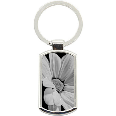 KeyRing Stainless Steel Key Chain Ring - White Flower Y01601