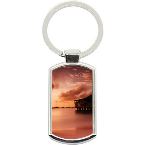 KeyRing Stainless Steel Key Chain Ring - Harbour Sunset Y01604