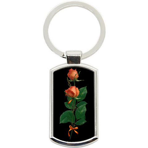 KeyRing Stainless Steel Key Chain Ring - Rose and Stem Y01610